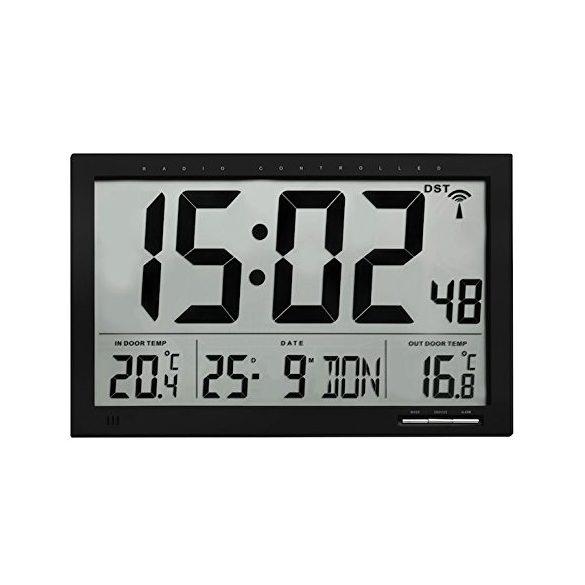 Óriás kijelzésű külső- belső hőmérő  rádiójel vezérelt ébresztő órával 60.4510.01 TFA