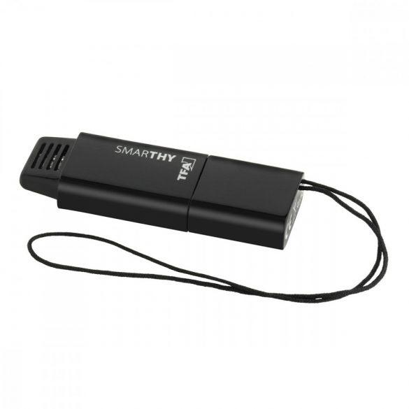 SMARTHY, Thermo-hygrométer szenzor okostelefonokhoz (iOS és Android), fekete