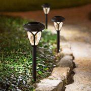 LED-es szolár lámpa - leszúrható, mintás plexivel - fekete - 400 mm 11252