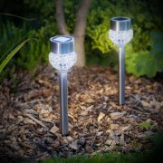 LED-es szolár lámpa - leszúrható - szálcsiszolt fém + üveg - 370 mm 11254
