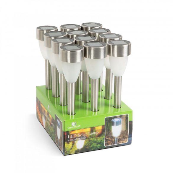 LED-es szolár lámpa - leszúrható - hidegfehér, fém - 370 mm  11259