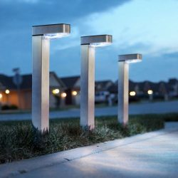 LED-es szolár lámpa - hidegfehér - szálcsiszolt - fém  11264