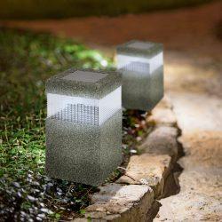 LED-es szolár lámpa - kőmintás - műanyag  11266