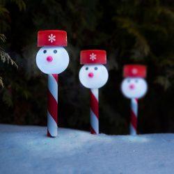 Led-es szolár lámpa - hóember 11374B