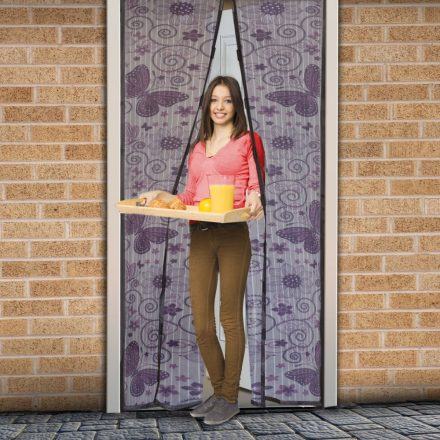 Rovarháló függöny ajtóra mágneses,lila pillangós mintás  100x210 cm, Delight 11398G