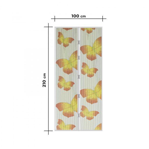 Szúnyogháló függöny ajtóra -mágneses- 100 x 210 cm - sárga pillangós 11398L
