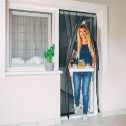 Szúnyogháló függöny ajtóra 4 db szalag max 100 x 220 cm Delight fekete 11608BK