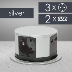 Delight süllyeszthető elosztó 3-as+USB + 2 csatlakozó 20433