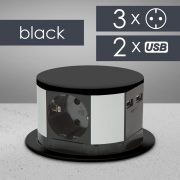 Elosztó - rejtett, 3-as + USB - fekete, Delight 20433BK