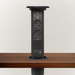 Delight süllyesztett elosztó - bluetooth-os, fekete 2 x 250 V + 2 x USB + AUX 20450BB