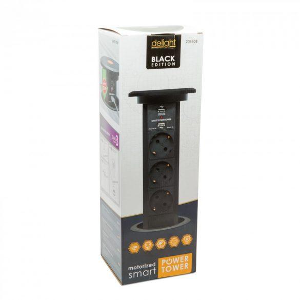 Delight rejtett elosztó - fekete 3 x 250 V + 2 x USB 20450B
