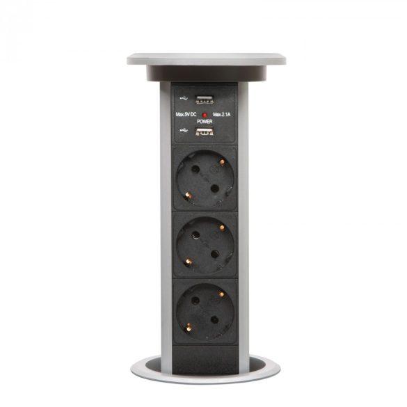 Delight rejtett elosztó ezüst 3 x 250 V + 2 x USB 20450