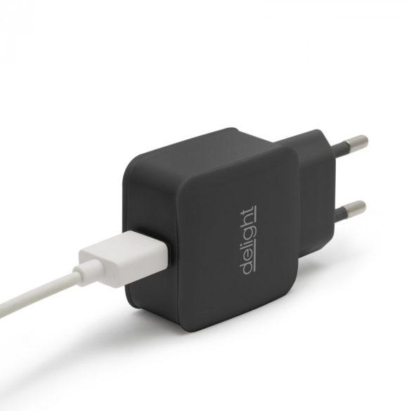 Delight USB Hálózati adapter 1xUSB fekete 55045-1BK