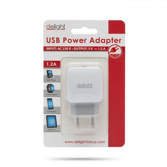 Delight USB Hálózati adapter 1xUSB fehér 55045-1WH