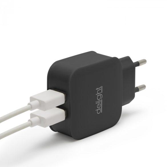 Delight USB Hálózati adapter 2xUSB fekete 55045-2BK