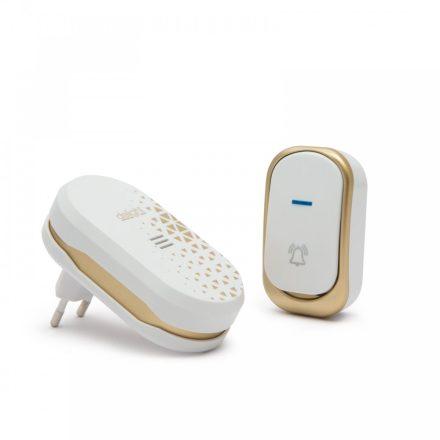 Vezeték nélküli csengő elemes kültéri, 230V beltéri egység design-os, fehér 55330A