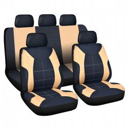 Autós üléshuzat szett - drapp / fekete - 9 db-os - HSA008 55672DR