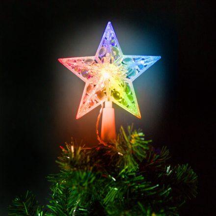 Karácsonyi LED-es csillag csúcsdísz - 10 LED - 15 cm - RGB - 2 x AA 58034
