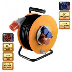 Kábeldob 2x230 V, 1x400 V aljzatok, 25 m 5G2, 5 gumikábel HOME HJR 400-25