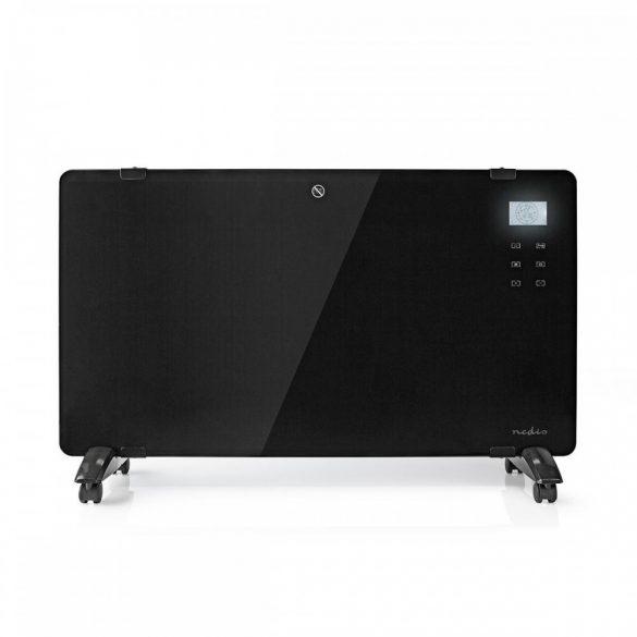 Üvegpanel-radiátor | Hőfokszabályozó | 2 Fűtési Fokozat | Álló/Falra Rögzíthető | 2000 W | Fekete Nedis HTPL20FBK