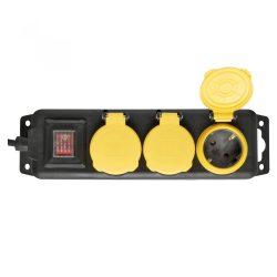 HOME Hálózati elosztó, kapcsolós,3 aljzat, 1,5m, IP44, fekete NVO 03K/BK