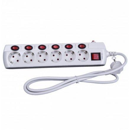 Stek túláramvédős külön kapcsolható hálózati elosztó,hosszabító 6 aljzat, 1,5 m SEK 615K