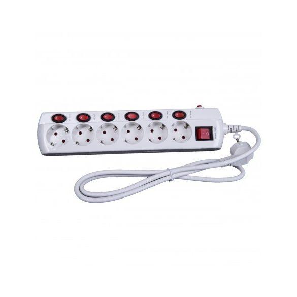 Túláramvédős külön kapcsolható elosztó,STECK 6 aljzat, 3 m - SEK 630K