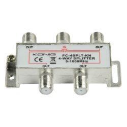 CATV F-elosztó | Max 8,0 dB erősítés | 5 - 1000 MHz | 4 kimenet Nedis SSPL400ME