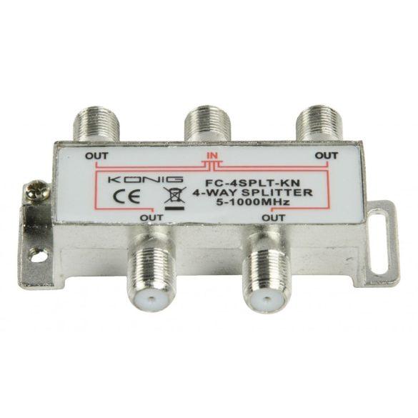 CATV F-elosztó   Max 8,0 dB erősítés   5 - 1000 MHz   4 kimenet Nedis SSPL400ME