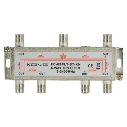 Műholdas Elosztó Műhold F Elosztó 17 dB / 5-2400 MHz - 6 Kimenet Nedis SSPL610ME
