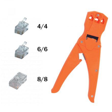 Crimpelőfogó, telefondugóhoz, müanyag, 210mm TW 3-6 SAL
