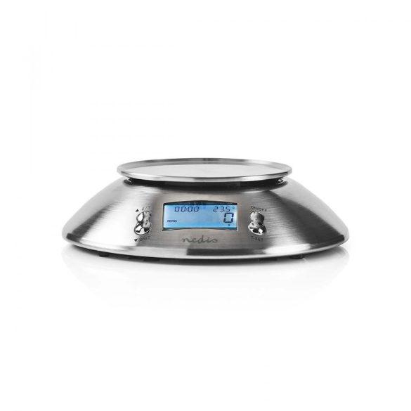 Digitális konyhai mérleg | Megvilágított LCD | Hőmérséklet | Ébresztőóra | Fém  kasc111si