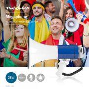 Megafon | 25 W | 1500 méteres Hatótávolság | Lecsatlakoztatható Mikrofon | Fehér / Kék  meph200wt
