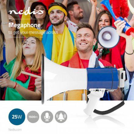 Megafon Maximális hatótáv: 1500 m | Hangerő szabályozás: 135 dB-ig | Levehető Mikrofon | Beépített sziréna | Váll pánt | Fehér / Kék  meph200wt