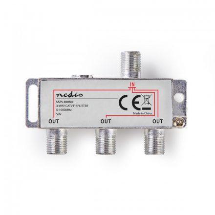 CATV F-elosztó   Max 6,8 dB erősítés   5 - 1000 MHz   3 Kimenet Nedis sspl300me