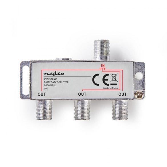 CATV F-elosztó | Max 6,8 dB erősítés | 5 - 1000 MHz | 3 Kimenet Nedis sspl300me