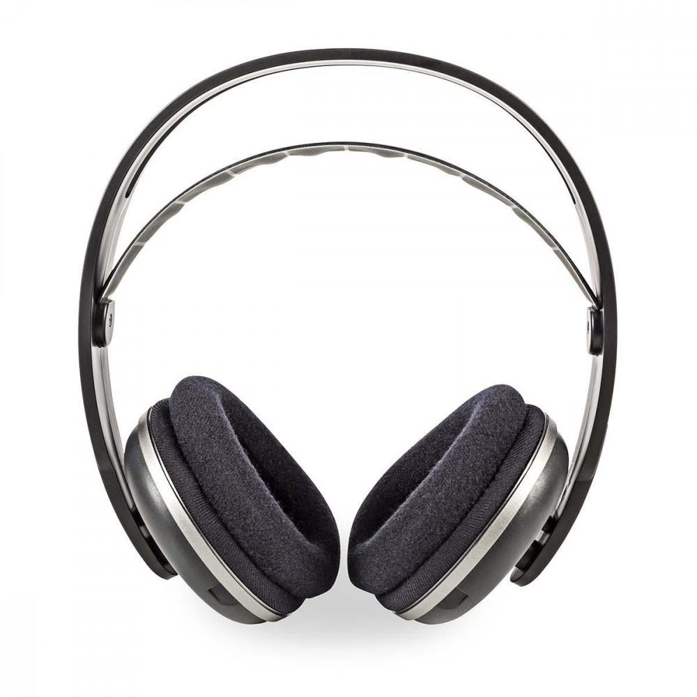 Vezeték Nélküli Fejhallgatók   Rádiófrekvencia (RF)   Teljes fület befedő kialakítás   Töltőállomás   Fekete / Ezüst Nedis HPRF210BK