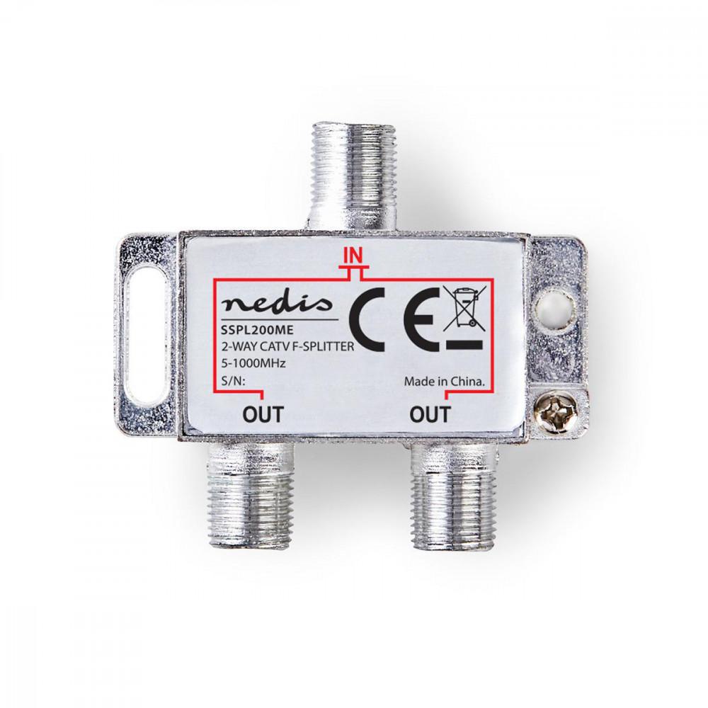 CATV F-elosztó   Max 4,2 dB erősítés   5 - 1000 MHz   2 Kimenet Nedis SSPL200ME
